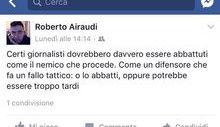 Il post di Roberto Airaudi su Facebook