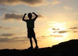 bambino, libertà, vacanza, tramonto