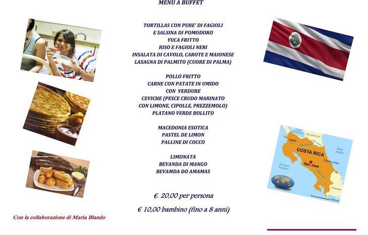 Il menu della serata Costa Rica