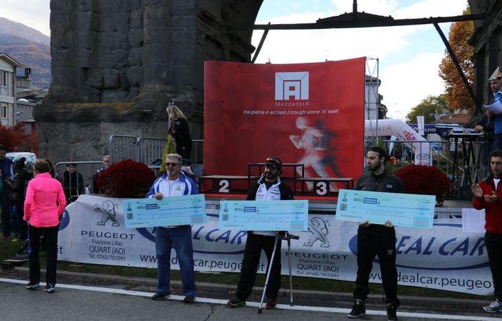 Il podio della gara di handbike