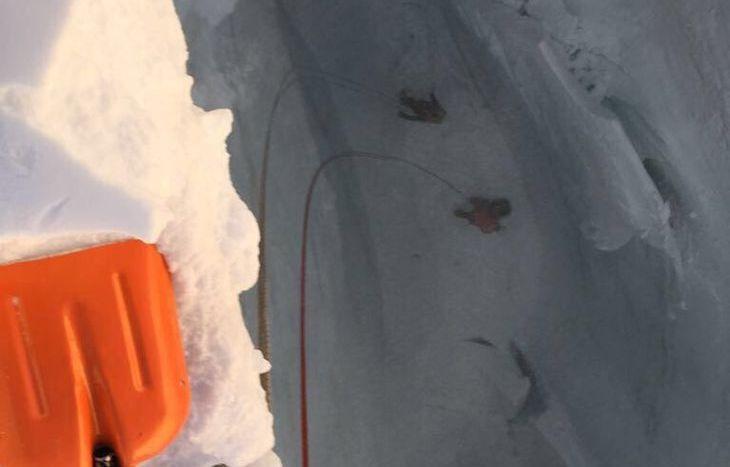 Operazioni di ricerca dello scialpinista disperso in un crepaccio