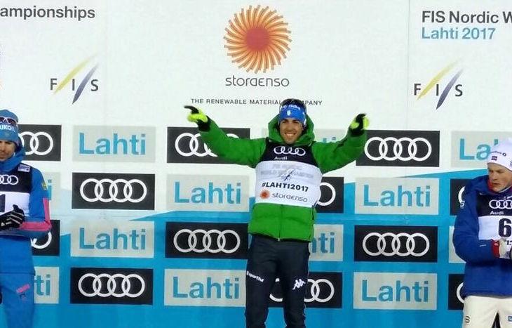 Federico Pellegrino sul gradino più alto del podio a Lahti 2017 - Foto Christian Brix