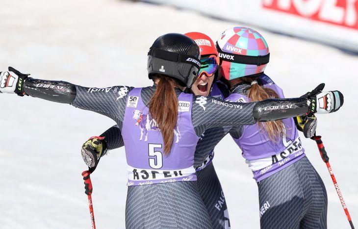 Federica Brignone,  Mikaela Shiffrin e Marta Bassino
