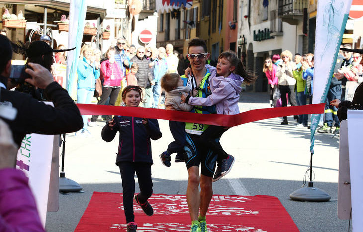 Dennis Brunod all'arrivo del Castle's Trail