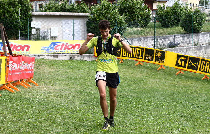 Mathieu Brunod all'arrivo del Trail della Becca di Viou