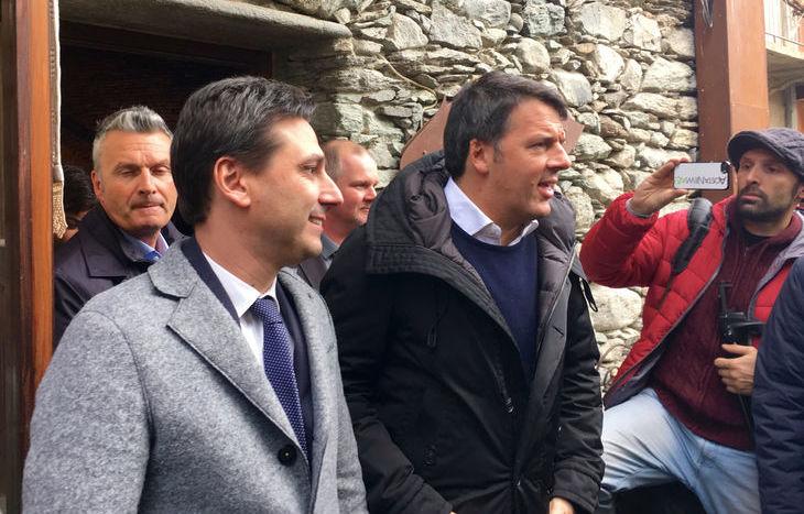 Matteo Renzi con Laurent Viérin