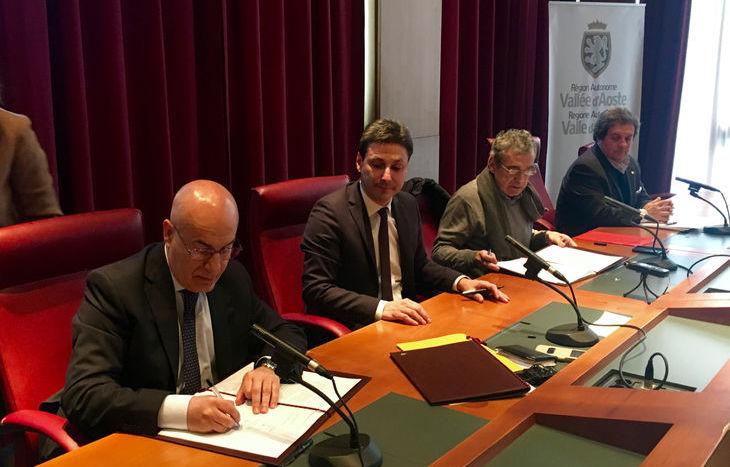 il Questore Pietro Ostuni, il Presidente Laurent Vierin e Silvano Meroi