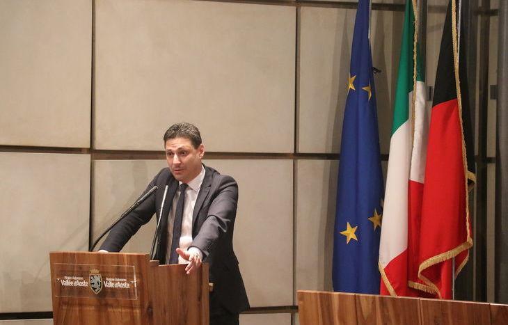 L'intervento del presidente della Regione, Laurent Viérin.