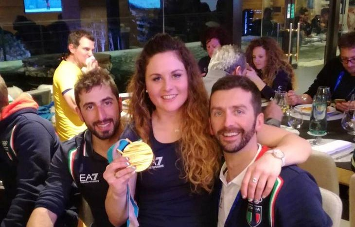 Gabriele Thiebat (a destra) con Michela Moioli e Claudio Consagra