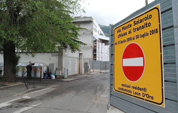Via Monte Solarolo - chiusura