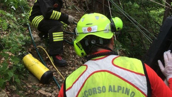 L'intervento di Vigili del fuoco e Soccorso Alpino a Pontey.