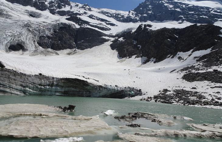 Il lago e il ghiacciaio Grand-Croux, sulla testata della Valnontey.