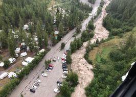 La frana in Val Ferret - Foto dall'elicottero Airgreen