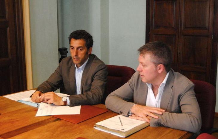 L'assessore Marco Sorbara ed il Sindaco di Aosta Fulvio Centoz