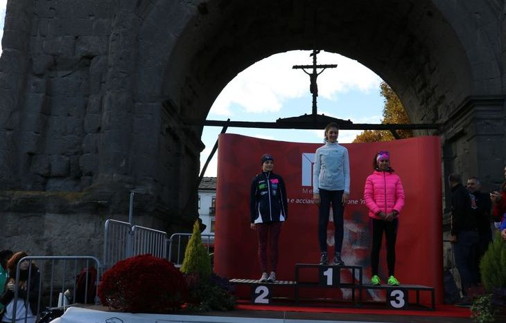 Il podio della 10 km femminile