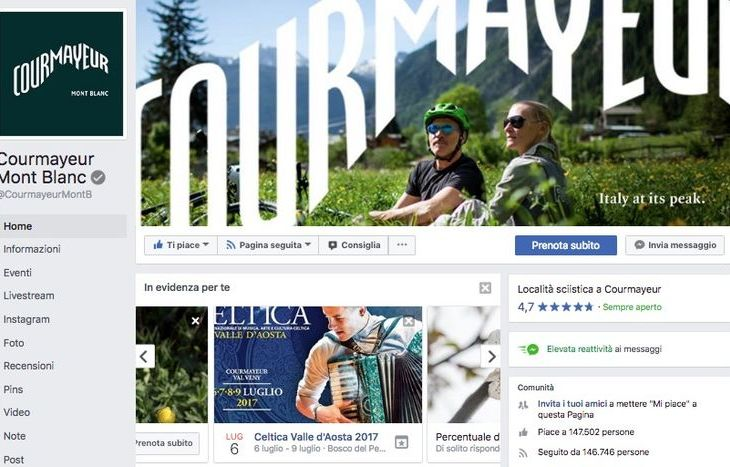 La pagina Facebook di Courmayeur