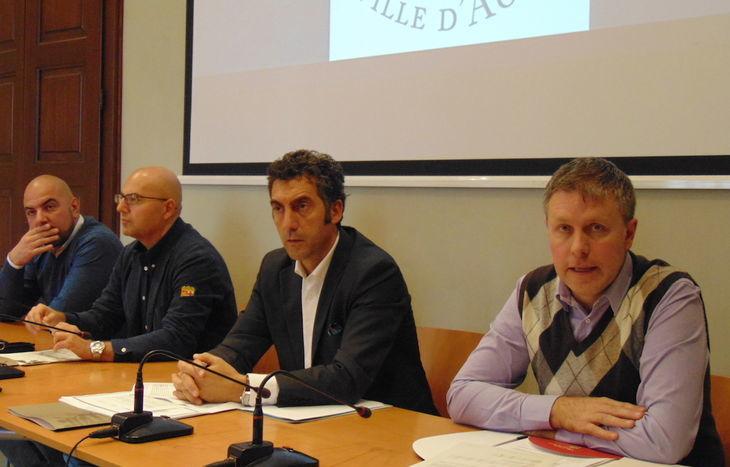 Conferenza stampa Giunta comunale - Da dx Fulvio Centoz, Marco Sorbara, Valerio Lancerotto e Carlo Marzi