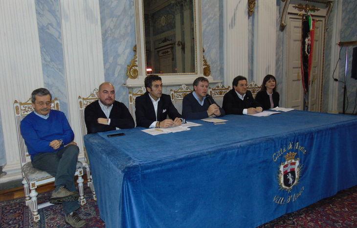 Da sx Guido Grimod, Carlo Marzi, Marco Sorbara, Fulvio Centoz, Mauro Baccega e Patrizia Diemoz